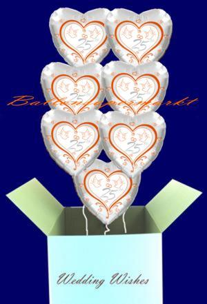 1 Karton mit 7 Ballons zur Silberhochzeit