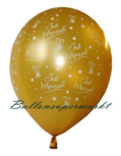 Ballons, Luftballons zur Hochzeit, Farbe Gold, Bedruckung Just Married und Sektgläser