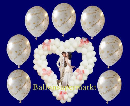 Luftballons-Hochzeit-Just-Married-frisch-verheiratet-Weiss-mit-Helium