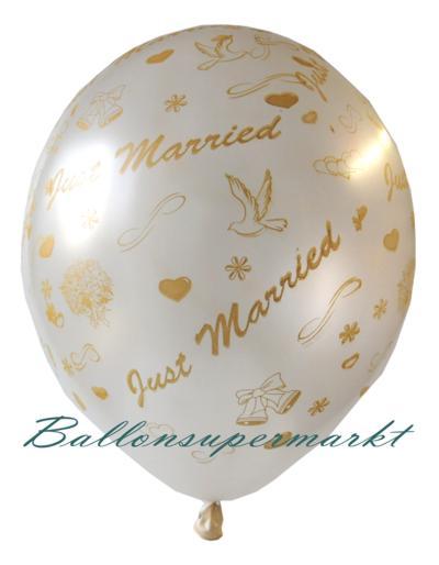 Luftballons zur Hochzeit, Frisch verheiratet, Just Married, Farbe Weiß