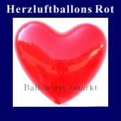 Herzluftballons Rot, rote Ballons in Herzform, Herzballons in der Farbe Rot